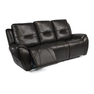 FLEXSTEELTrip Leather Power Reclining Sofa with Power Headrests