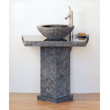 Vessel Pedestal and Pedestal Countertop Black Granite