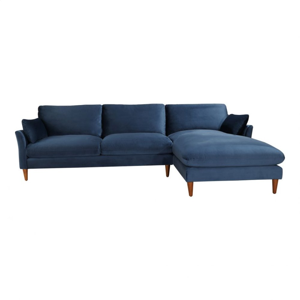Suma Sectional Right Blue Velvet