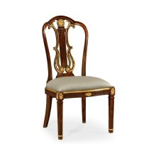 Neo-Classical Gilded Lyre Back Dining Side Chair