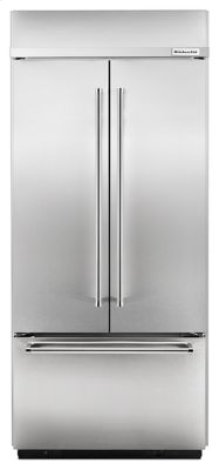 """20.8 Cu. Ft. 36"""" Width Built-In Stainless French Door Refrigerator - Stainless Steel"""