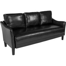 Asti Upholstered Living Room Sofa in Black Leather