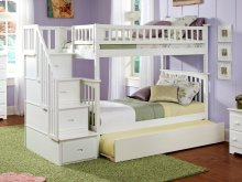 Columbia Staircase Bunk Bed Twin over Twin with Urban Trundle Bed in White