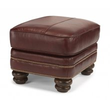 Bay Bridge Leather Ottoman with Nailhead Trim