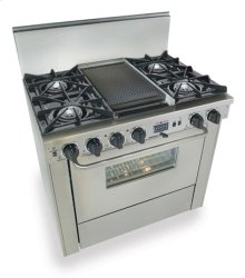 "36"" Dual Fuel, Convect, Self-Clean, Open Burners, Stainless Steel"