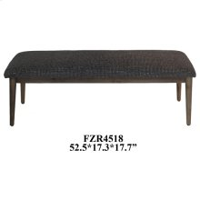 Corbin Distressed Wood and Pattern Upholstered Bench
