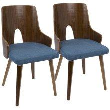 Ariana Chair - Set Of 2 - Walnut Wood, Blue Fabric