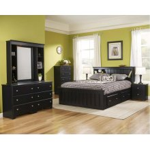 Bookcase w light 4-Drawer Captains Bed - Full