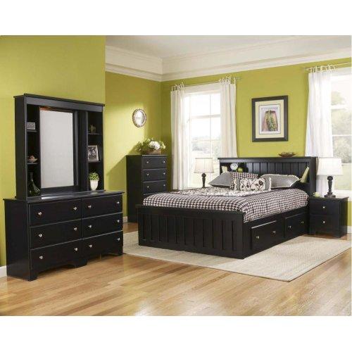 Bookcase w light 4-Drawer Captains Bed - Full