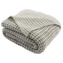 Haven Knit Throw - Light Grey/natural