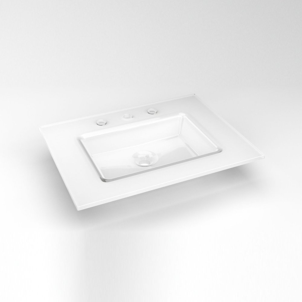 "Glass 25"" X 19"" X 19/32"" Vanity Top In White With Center Integrated Sink and Three Hole (8"" Widespread) Faucet Drillings"