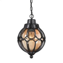 Madagascar 1-Light Outdoor Pendant in Matte Black