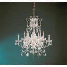Traditional Crystal 12 Light Swarovski Strass Crystal Brass Chandelier