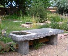 Slab Table/bench Outdoor / Blue Gray Granite