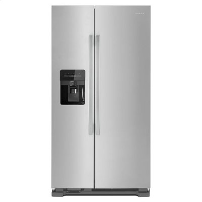 Amana® 35.5-inch Side-by-Side Refrigerator with Dual Pad External Ice and Water Dispenser - Black-on-Stainless Product Image