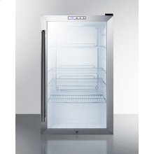 Commercial Freestanding Beverage Merchandiser With Glass Door, Stainless Steel Cabinet, Front Lock, and Digital Thermostat