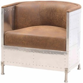 Tanner Fabric Accent Chair Aluminum Frame, Nubuck Brown