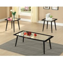 3PC COFFEE & END TABLE GLASS TOP