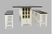 Asbury Park Counter Drop Leaf Table W/2 Backless Stools - White/autumn