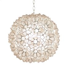 """20"""" Diameter Capiz Shell Lotus Pendant. Ul Approved for 1 - 60 W Bulb. Comes With 3' Chrome Chain and Canopy. Additional Chain May Be Purchased Upon Request."""