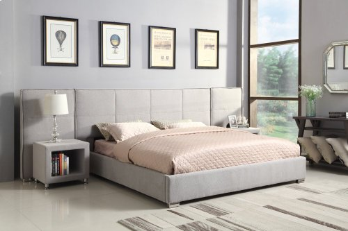 Emerald Home Cazelle Upholstered Queen 5/0 Bed With Lsf & Rsf Wings On Headboard and Storage In Base-gray-b133-10-03wings-k