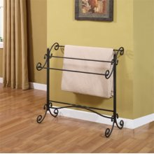 "Garden District ""Black with Gold Highlights"" Scroll Blanket Rack"