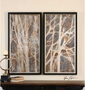 Twigs Hand Painted Canvases, S/2