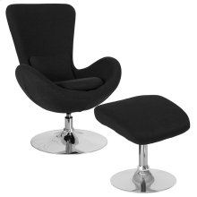 Egg Series Black Fabric Side Reception Chair with Ottoman