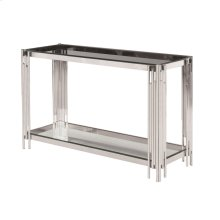 2-tier Silver/glass Console Table, Kd