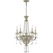 5 Lites Chandelier - Ant. Ivy W.CRYSTALS Deco., E12 B 25wx5