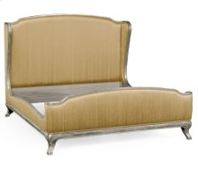 Cali King Louis XV Silver-Leaf Bed, Upholstered in Muscatelle Silk