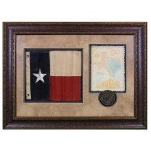 Shadowbox W/Texas Flag,Letter & Seal