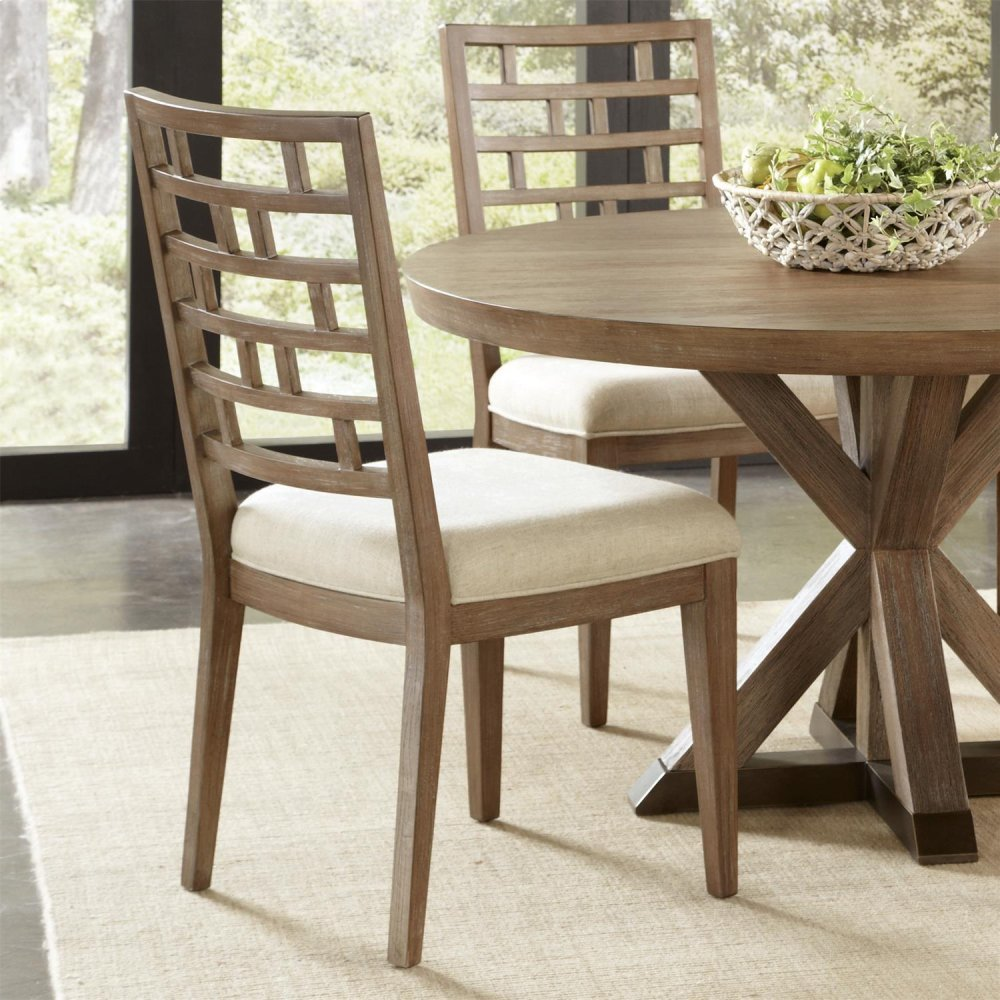 Mirabelle - Curved Lattice Back Upholstered Chair - Ecru Finish