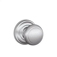 Andover Knob with Andover trim Non-turning Lock - Satin Chrome
