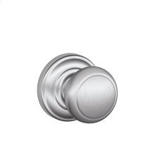 Andover Knob with Andover trim Non-turning Lock - Satin Chrome