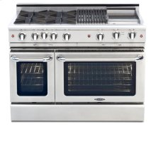 "48"" four Sealed Burner + 24"" Griddle, all gas, manual clean range, Liquid Propane"