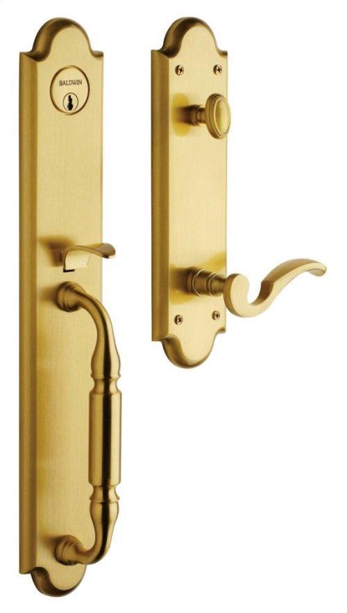 Satin Brass and Brown Devonshire Handleset