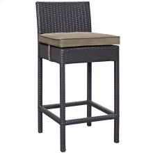 Convene Outdoor Patio Upholstered Fabric Bar Stool in Espresso Mocha