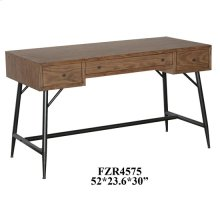 Nolan 3 Drawer Metal and Burnished Oak Desk