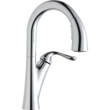 Elkay Harmony Single Hole Bar Faucet with Pull-down Spray and Forward Only Lever Handle Chrome
