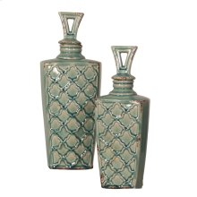 Rustic Sea Blue Urns with Lids - set of 2