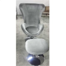 Contemporary Grey and Chrome Chair and Ottoman