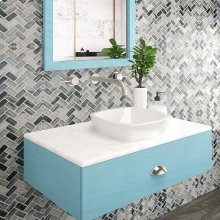 Amalie Square Semi-recessed Vitreous China Bathroom Sink