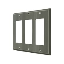 Switch Plate, Triple Rocker - Antique Nickel