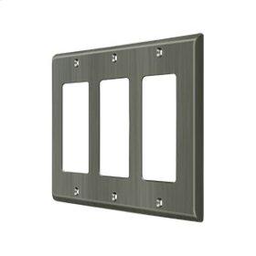 Switch Plate, Triple Rocker - Antique Nickel