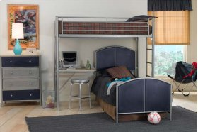 Brayden Loft Twin Bed With Dresser and Mirror