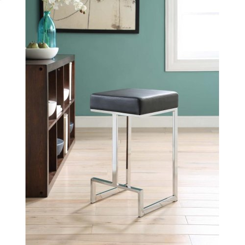 Contemporary Chrome and Black Counter-height Stool