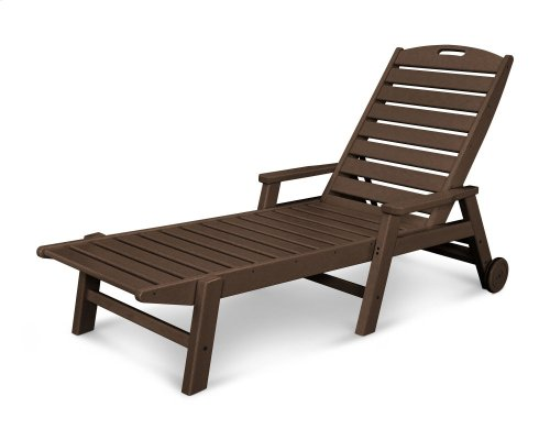Mahogany Nautical Chaise with Arms & Wheels