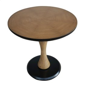 Woodsy Round Adjustable End Table Black Base, Natural Oak