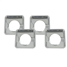 Square Burner Bowls - Chrome - 4 Pack